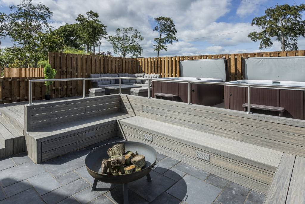 Patio and hot tubs
